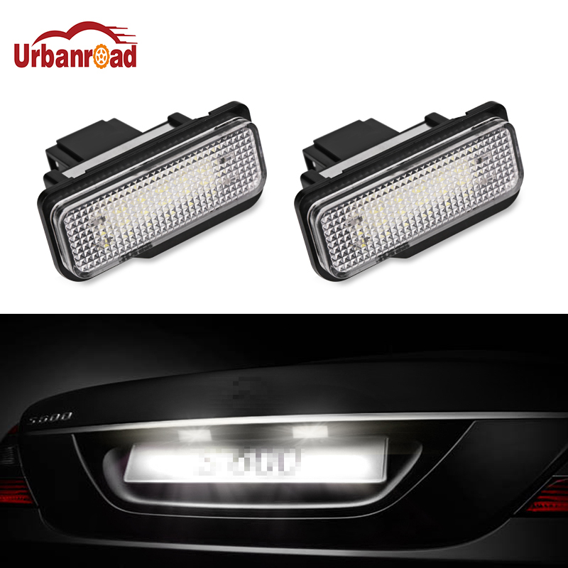 Urbanroad 2PCS Car LED License Plate Lights For Mercedes W211 W203 5D W219 R171 12V No Error for Benz White Number Plate lamp hot 2pcs error free 3528 smd 18 led car led license number plate light lamp white for bmw e46 4d sedan 5d wagon 12v