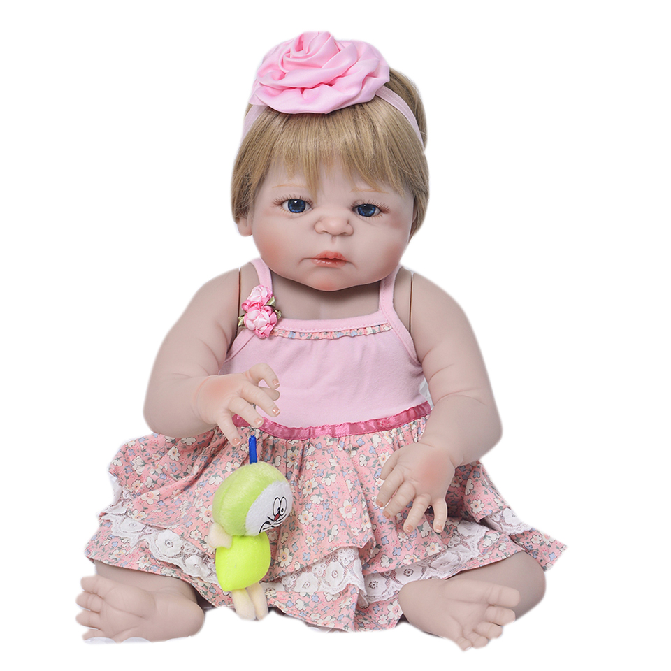 Fashion Ethnic Baby Dolls Girl 23 Inch Real Look Reborn Dolls With Gold Wig Full Silicone Babies Waterproof Toy For Sale Gifts цена