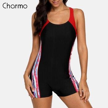 Charmo  One Piece Women Sports Swimsuit Athletic Racerback Swimwear Pad Bikini Boy leg Beach Wear Bathing Suits printed Monokini