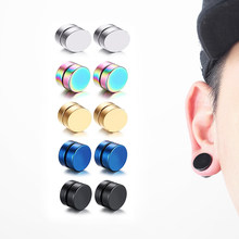 1Piece Punk Mens Strong Magnet Magnetic Ear Stud Set Non Piercing Earrings Fake Earrings Gift for Boyfriend Lover Jewelry(China)