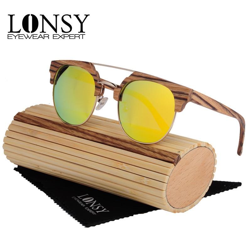 LONSY 2017 New font b Fashion b font Wooden Sunglasses Women Bamboo Sun glasses Men Brand