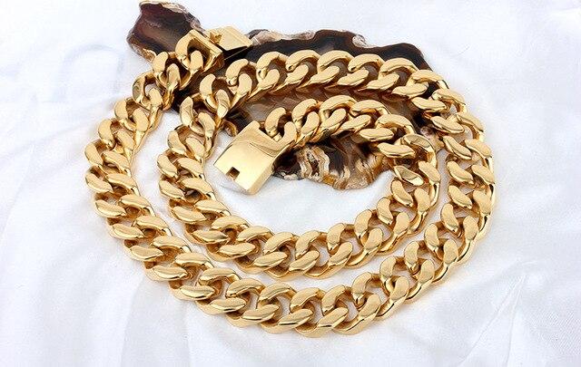 06734195e993 72 cm largo 20mm ancho collar de cadena cubano Acero inoxidable Chile oro  color pesado chunky
