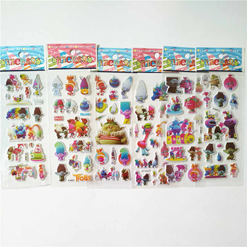 6 sheets 3D Trolls Puffy Stickers Waterproof Fun Sticker Toys The Luggage Stickers Handbag Decoration scrawl Stickers