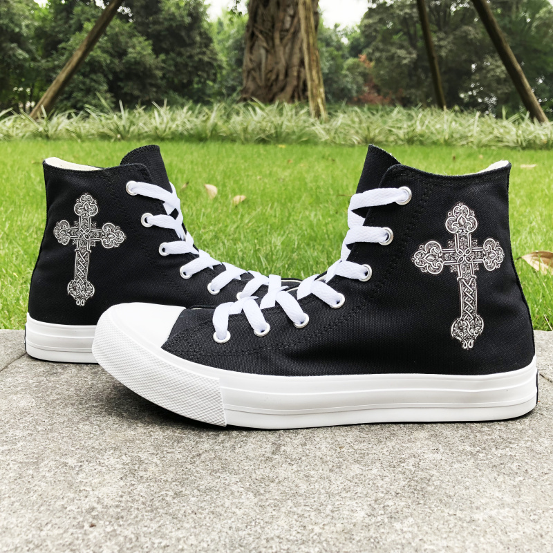 Wen Black Canvas Athletic Shoes Female Floral Pattern Cross Original Designs High Top White Skateboard Sneakers Male Plimsolls