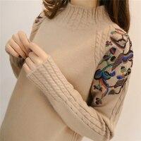 2017 Female Half Turtleneck Sweater Female Sleeve Head Embroidery Twist Loose All Match Long Sleeved