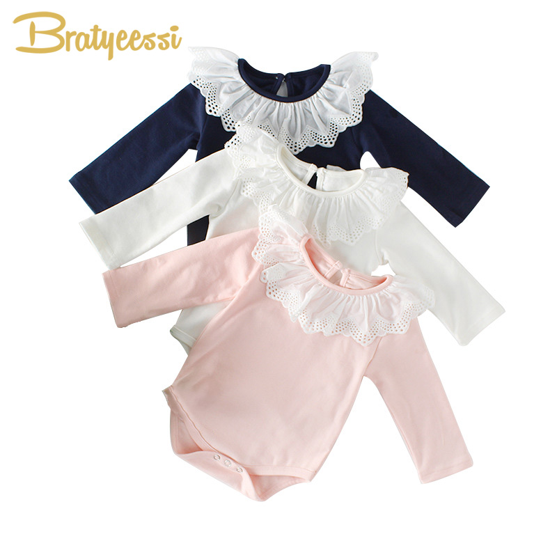 2018 Princess Baby Girl Romper Lace Collar Cotton Baby Rompers Long Sleeves Infant Jumpsuit Toddler Baby Girl Clothes 1PC stylish shirt collar long sleeves single breasted jumpsuit for women