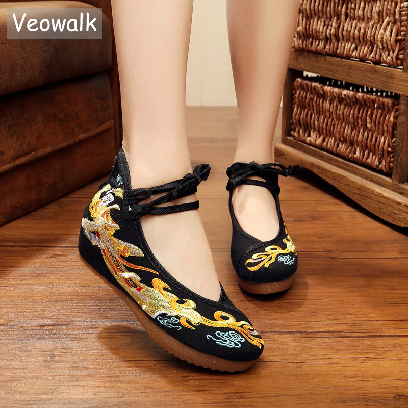 Veowalk Chinese Fairy Embroidered Women Cotton Fabric Flat Platforms Ankle Lace up Ladies Comfort Casual Canvas Embroidery Shoes