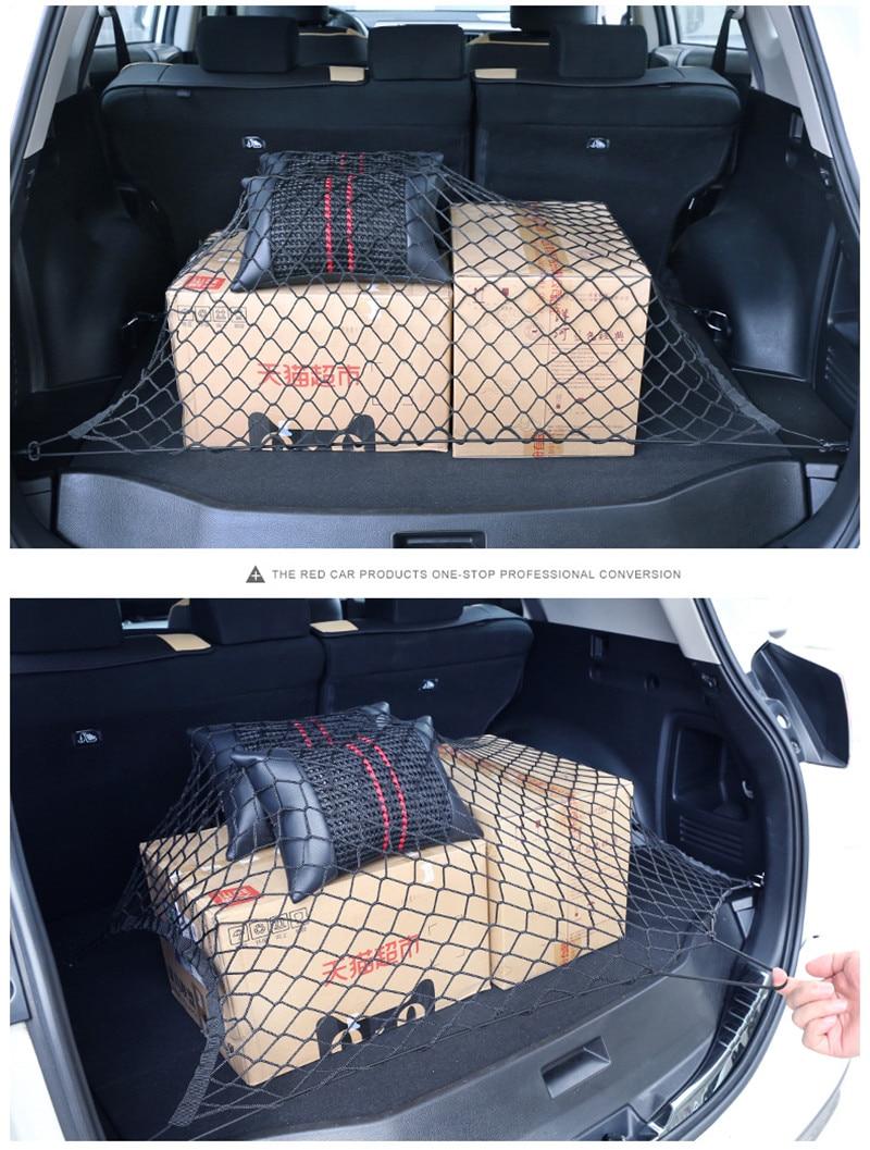 Автомобильные сетки-держатели в багажник 120x70 см эластичный крепкий нейлон грузовой органайзер для хранения в багаже сетчатая сетка с крючками для автомобиля фургон пикап SUV MPV