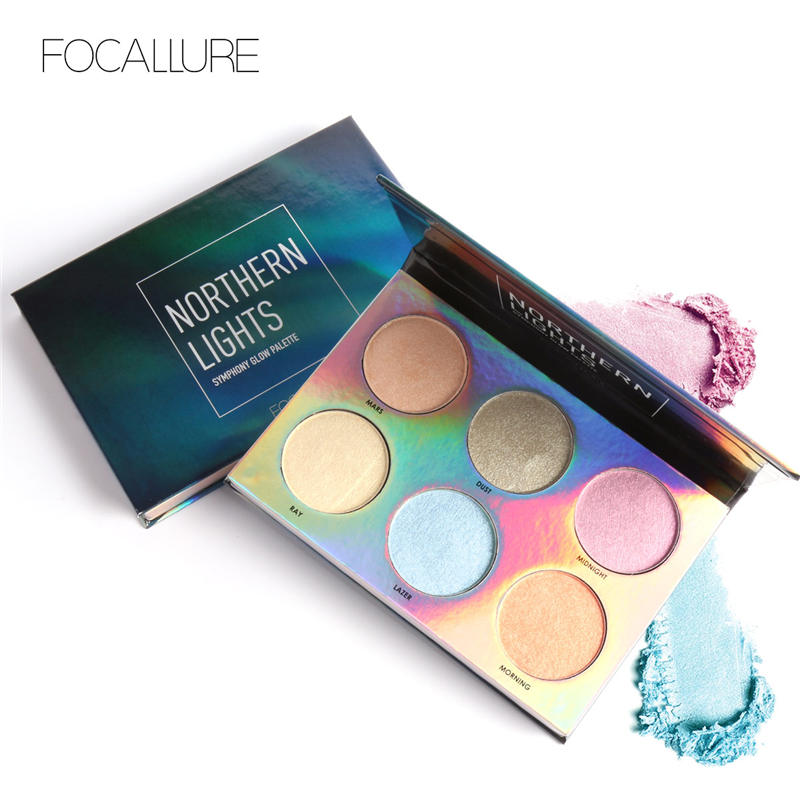 Focallure Northorn Lights 6 Colors Symphony Glow Palette Face Contour Rainbow Make up Highlighter Makeup Set Face Concearler essence prismatic rainbow glow highlighter 10 цвет 10 be a unicorn variant hex name f4d683