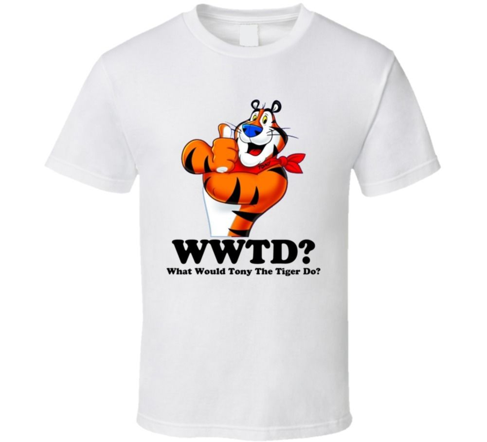 What Would Tony The Tiger Do T Shirt Printed T Shirt Summer Men'S 100% Cotton Letter Printed T-Shirts New 2017 Summer Fashion