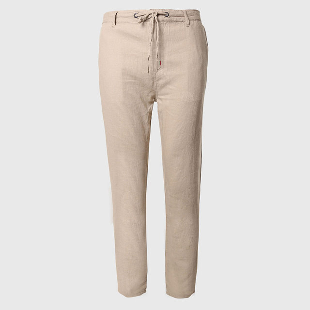 Men Long Cotton Linen Pants Plain Tapered Trousers Khaki Bottoms Classic Workwear Broad Waistband With Drawstring Chino