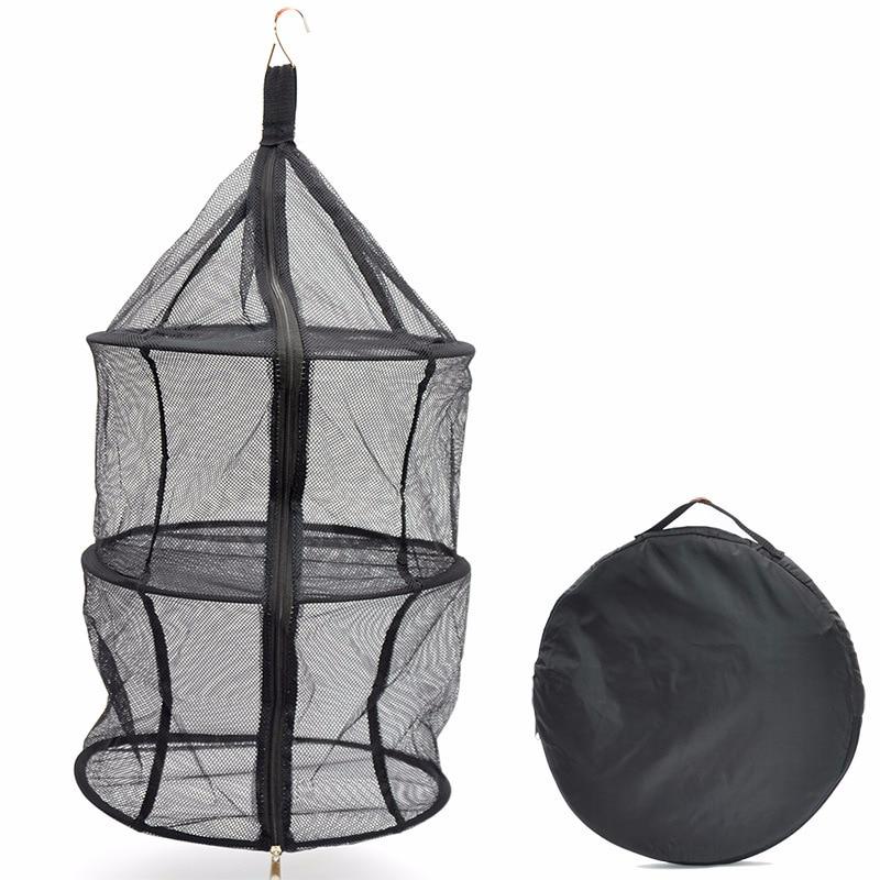 Outdoor Nylon Zipper Three-layer Folding Storage Net Bag Hanging Clothes Laundry