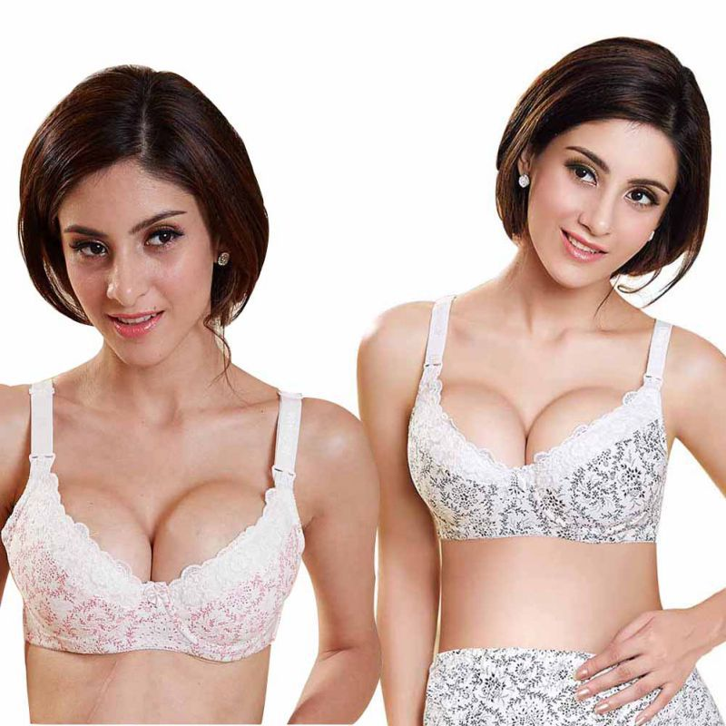 Gravid Maternity Feeding Nursing Breastfeeding Bra Kvinnor Lace Floral Underwire Bras