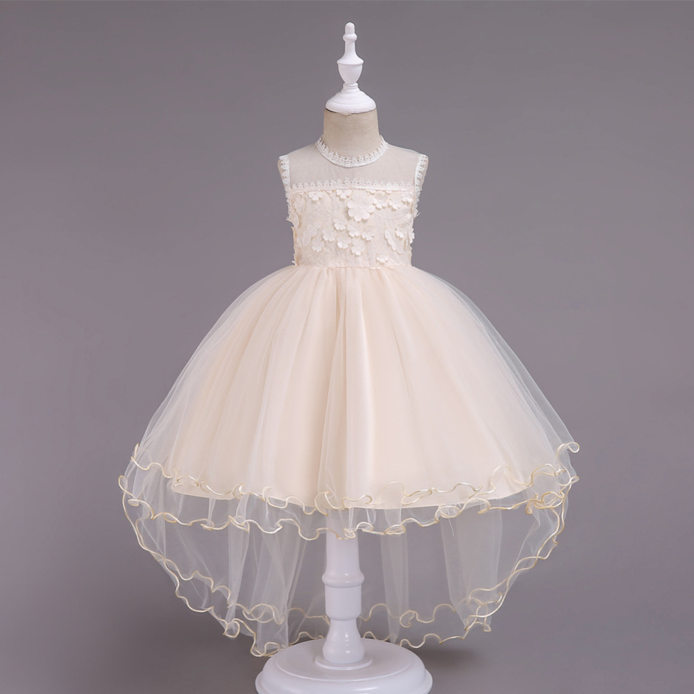 Girls Trailing Flowers Tulle Holiday Parties Asymmetrical Dress Wedding  Birthday baby Girl Frocks For 8 10 529c78aa8814