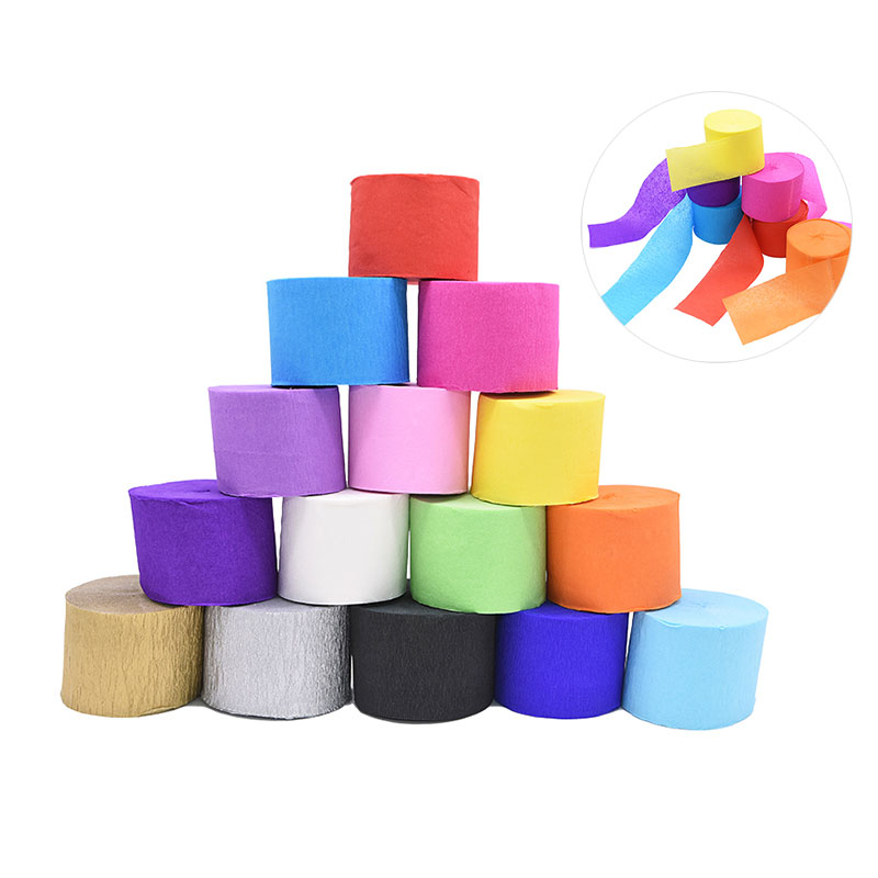 1Roll 4.5cm*25M Wholesale Mulitcolor Wrinkles Crepe Paper Craft Decorative Origami Crinkled DIY Flower Wrapping Wedding Decor
