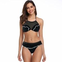 Lace Swimwear Women Bikini 2019 Push Up Bikini Set Swimsuit Ruffle Bathing Suit Women Black White Swimming Suit Beachwear Halter цены
