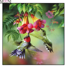MOONCRESIN DIY Diamond Embroidery Hummingbird Flower Painting Cross Stitch Full Square Drill Rhinestone Mosaic Decoration Arts стоимость