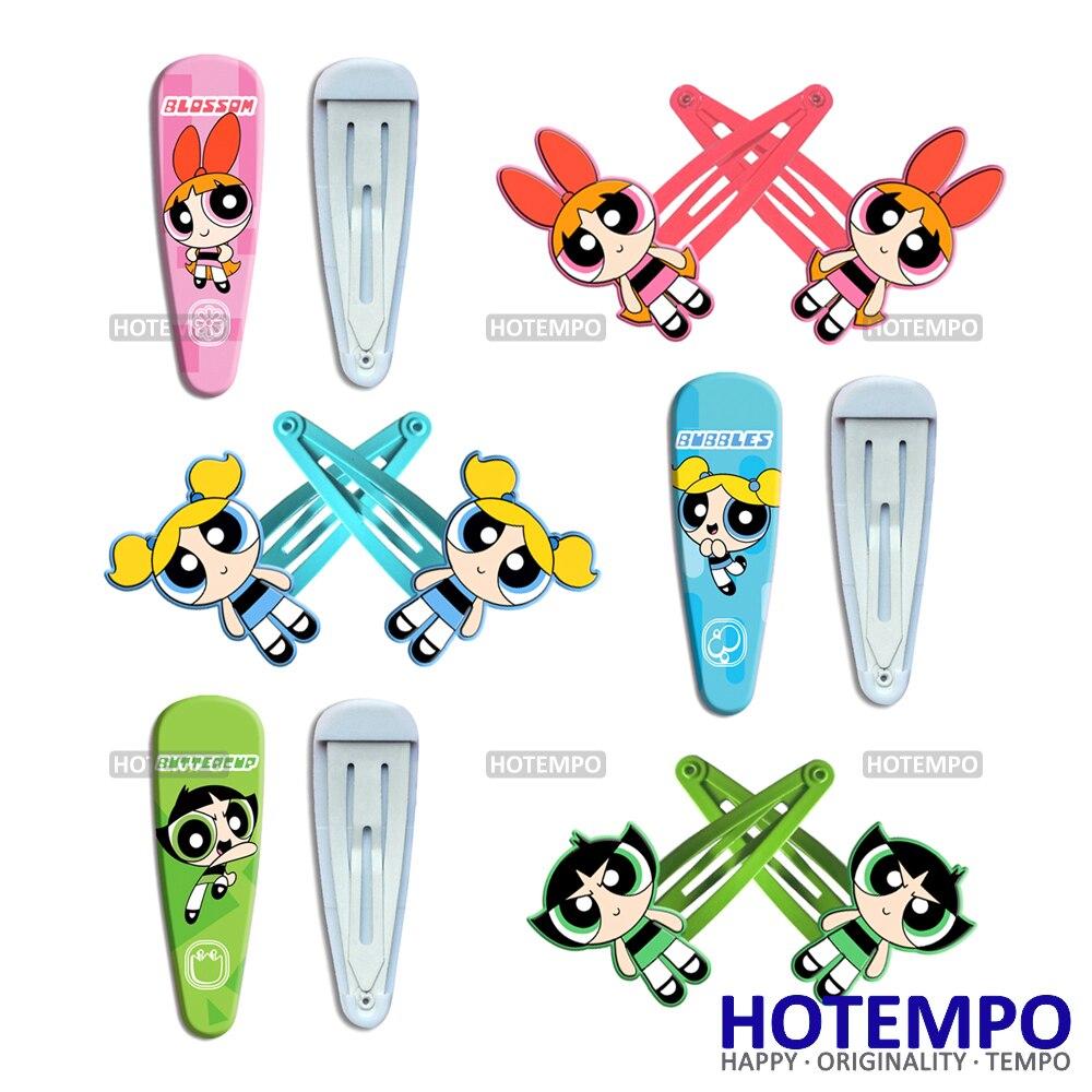 Powerpuff Girls Cartoon Blossom Bubbles Buttercup TV BB Hair Accessori Toys Kid Hair Clips For Baby Girls UV HairPins