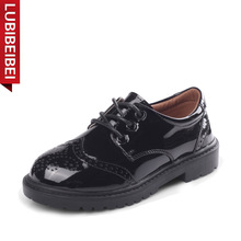 LUBIBEIBEI/детская кожаная обувь; сезон весна-лето; Новинка; обувь для вечеринок из лакированной кожи для мальчиков; Студенческая обувь черного цвета; стильная обувь для выступлений; KS95