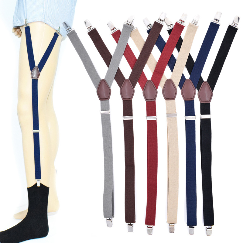 Supply 1 Pair Elastic Solid Nisex Shirt Fixed Braces Band Suspenders Adjustable Garter Socks Non-slip Garter Clip Leg Ring Clip Belt Men's Suspenders Apparel Accessories