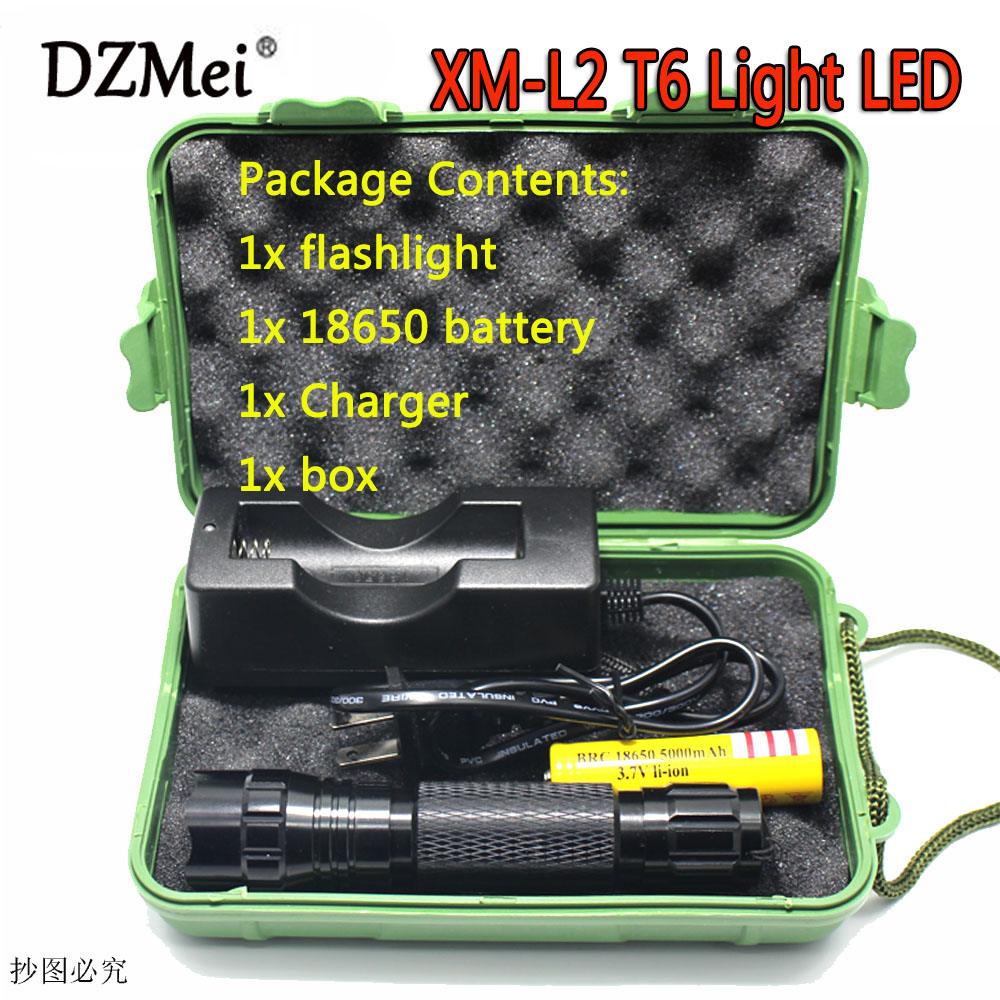 LED Tactical Flashlight 501B Cree XM-L2 T6 Torch Hunting Rifle Light Led night light lighting+18650 Battery+Charger+box led tactical flashlight 501b cree xm l2 t6 torch hunting rifle light led night light lighting 18650 battery charger box
