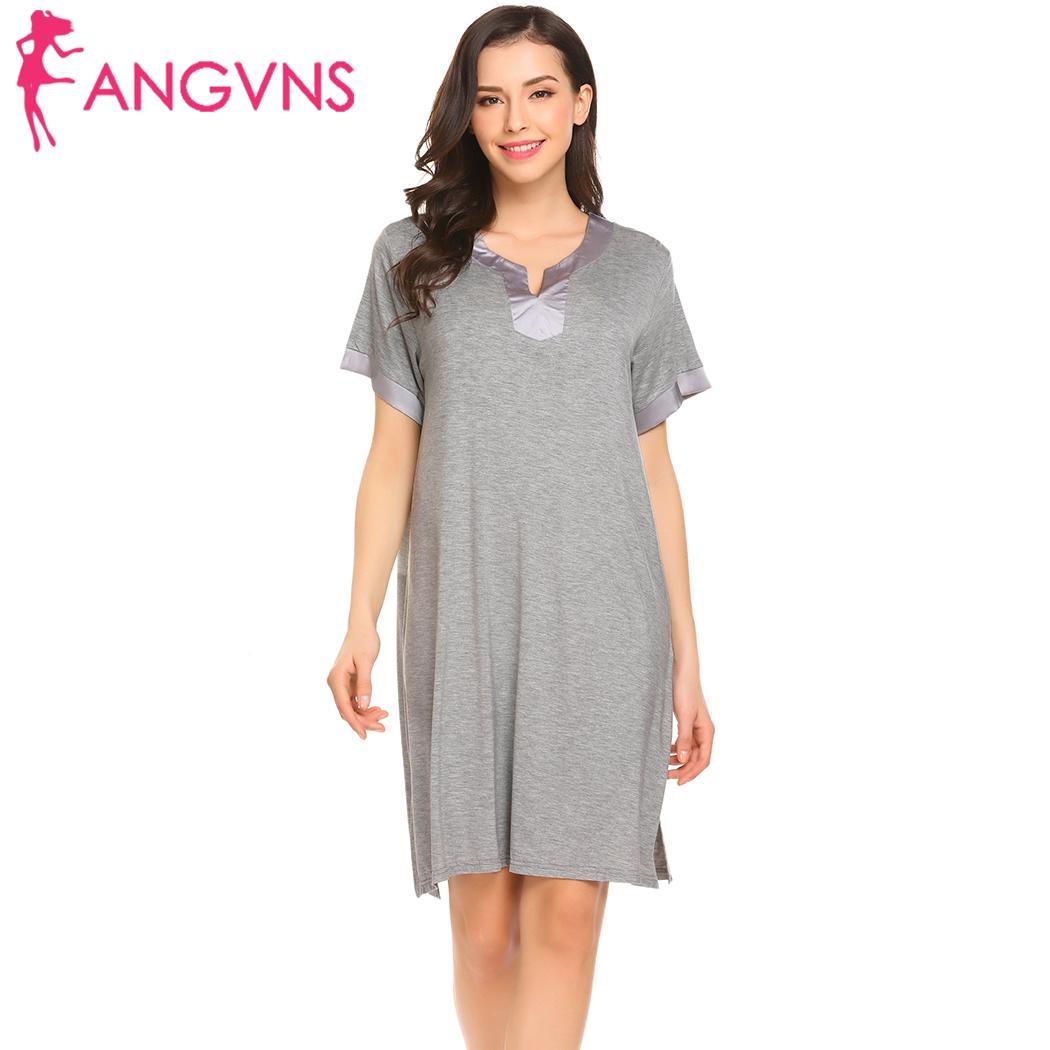 ANGVNS Women   Sleepshirt   Short   Nightgown   Fashion women love cute Casual Patchwork Sleeve Neck Loose Sleepdress V