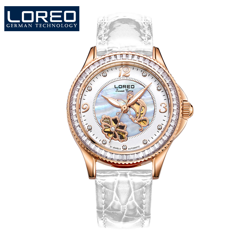 купить Elegant luxury LOREO lady watch Austria Diamond Butterfly skeleton automatic mechanical Pearl dial sapphire white leather watch по цене 12103.56 рублей