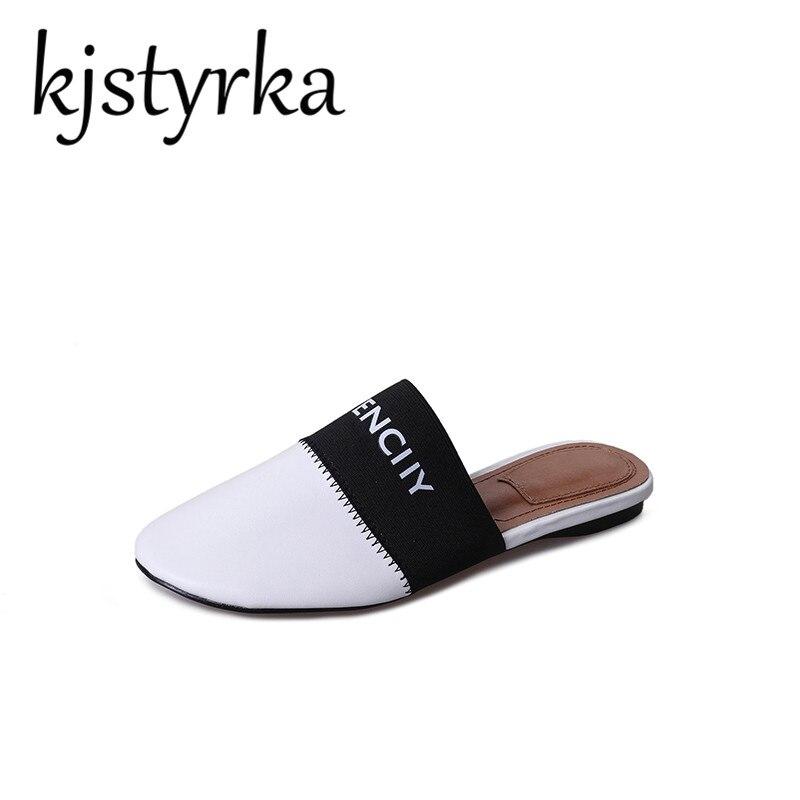 Kjstyrka бренд 2018 новый для отдыха из мягкой кожи Для женщин тапочки круглый носок Удобная Белый Черный Conise плоская подошва женские шлепанцы