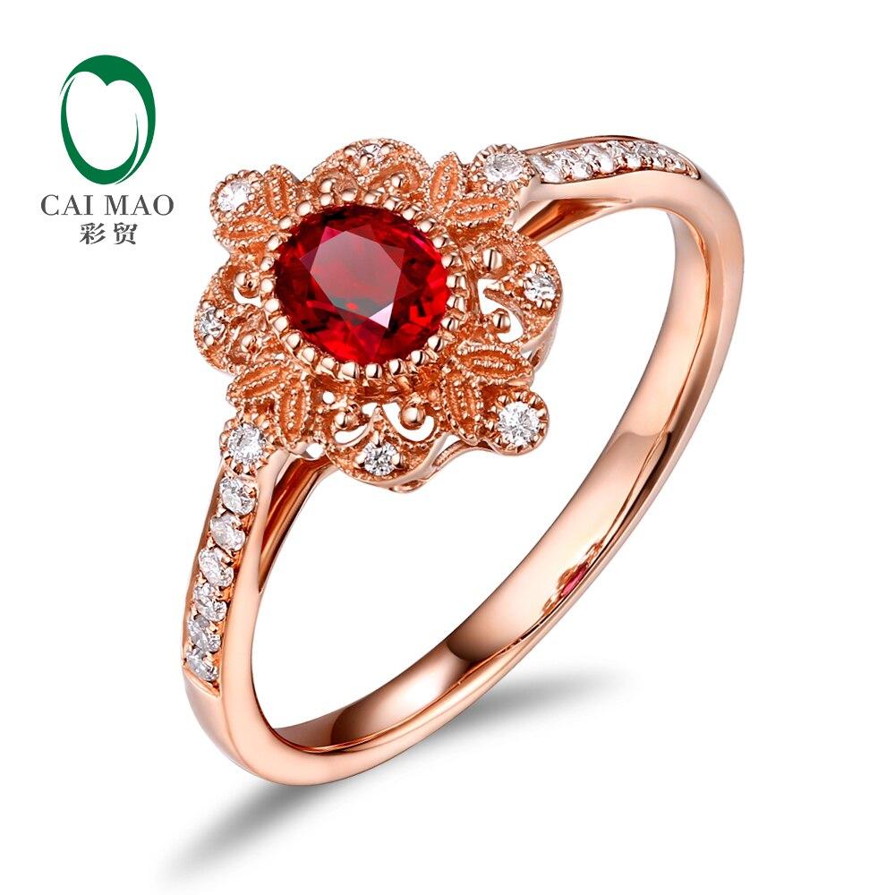 Caimai Romantique 14 k Rose Or 0.59ct Naturel Rouge Ruby Milgrain Diamant Bague de Fiançailles