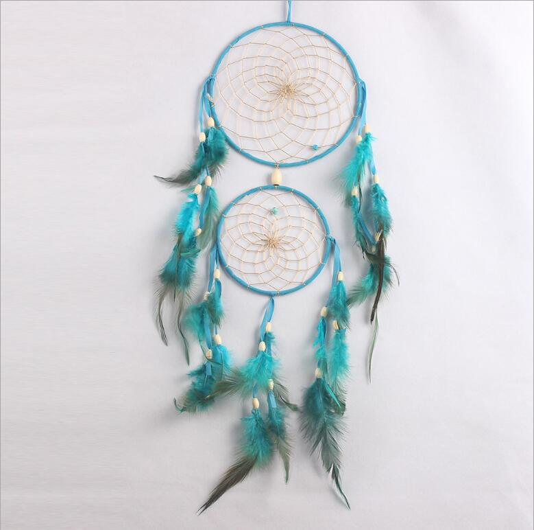 Pure White Feather Woven Dream Catcher Circular Net With: New Lake Blue Two Rings ᗑ With With Wood Beads Feather ヾ