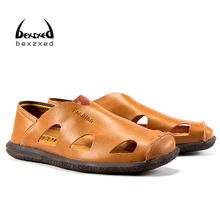 Bexzxed Comfortable Handmade Men Sandals Leather Soft Summer Male Shoes Sewing Outdoor Casual Footwear Shoes for Mens Breathable