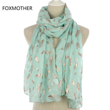 FOXMOTHER 2019 New Fashion Mint Green Pink Foil Gold Feather Scarf Hijab Shawl For Womens