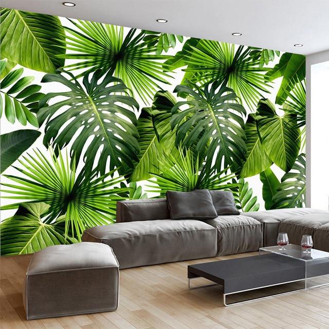 Custom 3D Muurschildering Behang Tropische Regenwoud Banaan Bladeren ...