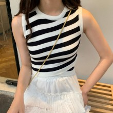 Summer 4 Colors Irregular Striped Hit Color Women Vest Vintage Tight Sleeveless Korean Style Female Student Short Tank Tops