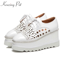 Shoes Women Beading Krazing-Pot Lace-Up Square Toe White Hollow Genuine-Leather Causal