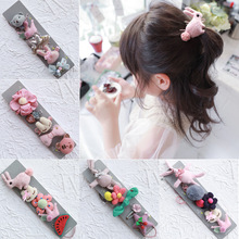 Korea Cotton Cartoon Sweet Rabbit Bear  Hair Accessories Set For Girls Clips Elastic Band Hairpin Rubber Tie