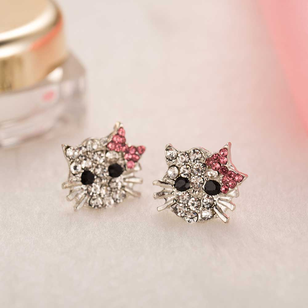 Ailend New Crystal Stud Earrings Rhinestone Hello Kitty Earrings Bowknot Jewelry For Girls Ring,earring And Necklace Set #4