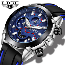 LIGE Mens Watches Silicone Strap Top Brand Luxury Waterproof Sport Chronograph Quartz Business Wristwatch Watch Men reloj hombre dom men watches luxury brand waterproof quartz clock leather strap business golden watch male dress wristwatch mens reloj hombre