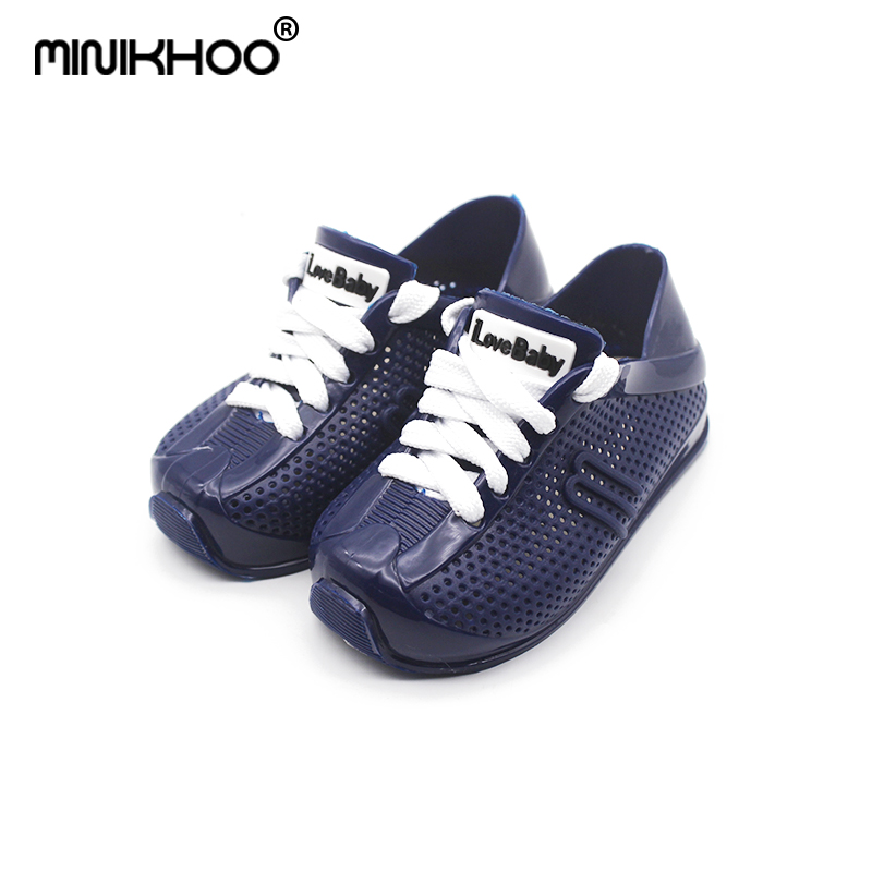 Mini Melissa With Shoelace Sandals Girls Jelly Sandals 2018 New Children Shoes Breathable Melissa Girls Sandals Sports Sandals