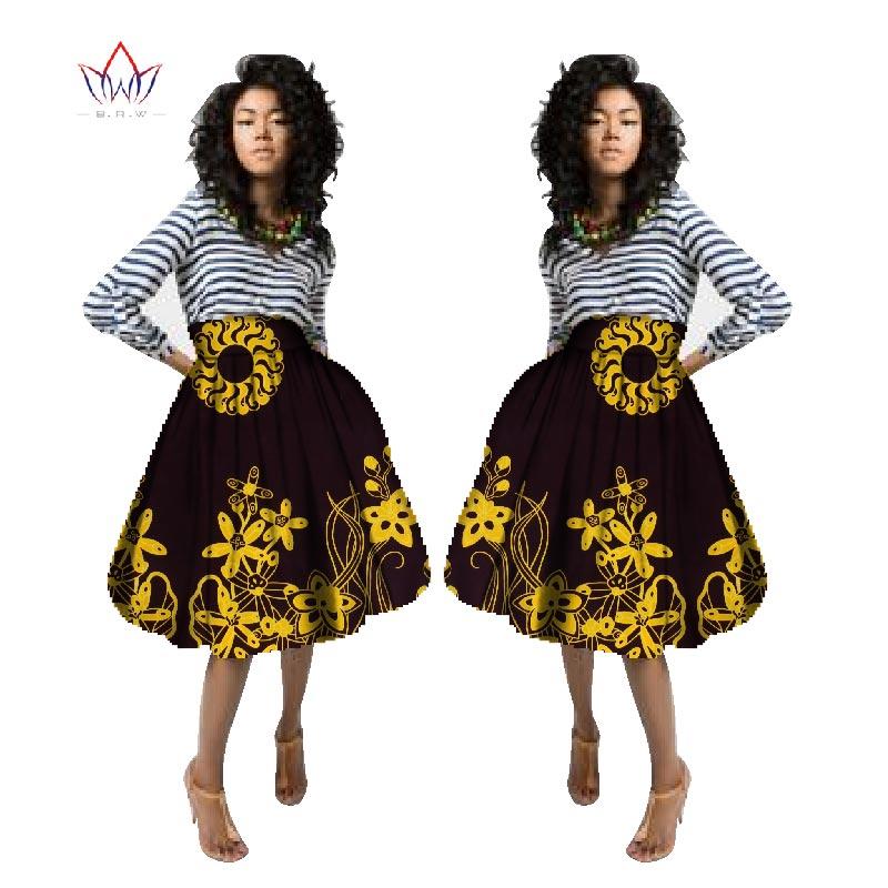 Grande taille Bazin Riche vêtements africains pour les femmes Dashiki jupes africain cire imprimer genou-longueur robe de bal Jupe partie Jupe AT97
