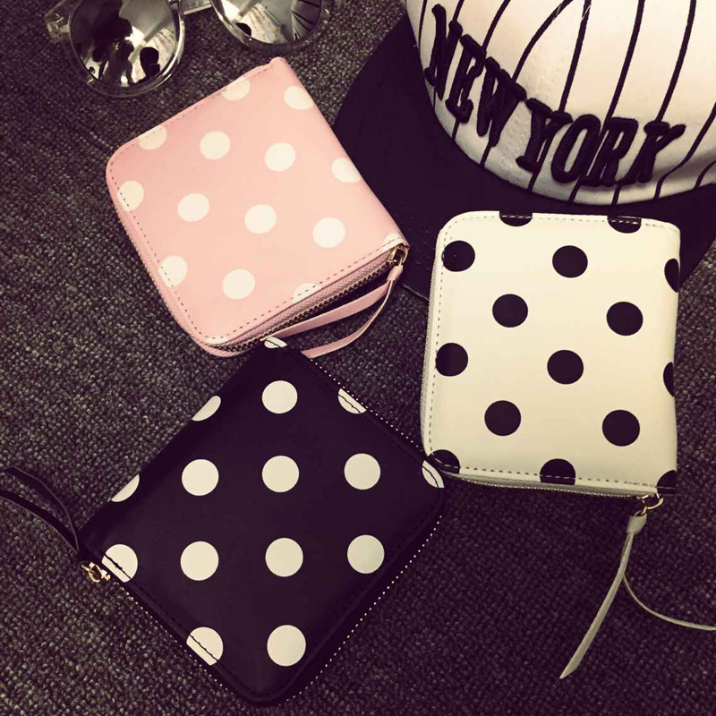 Free shipping Polka dot printed short MINI SQUARE Fold Wallet women coin purse Clutch coin purse leeshang marvel captain america bi fold wallet dft 1007a for dft 1995 fold mini small wallet