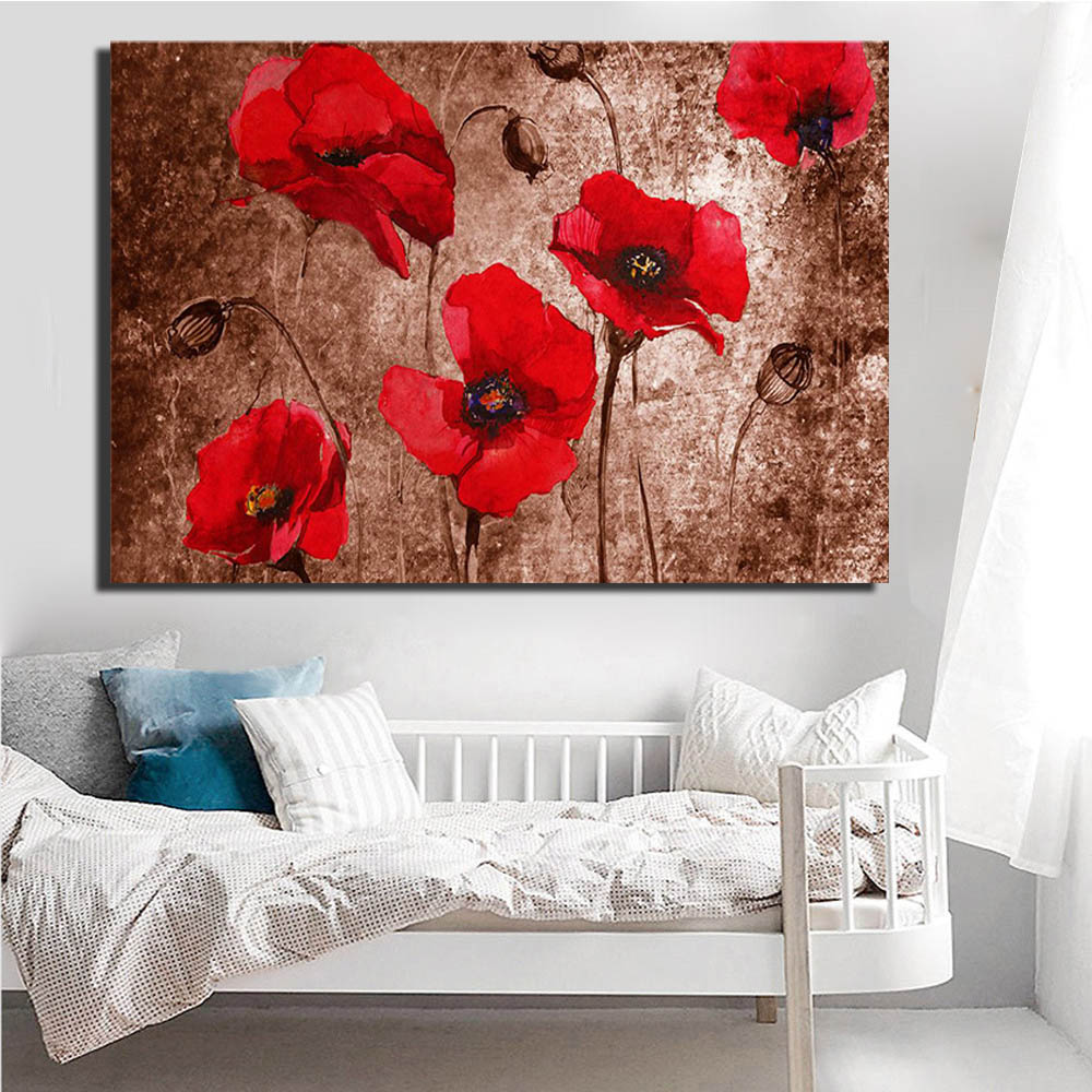 Flower Canvas Art Abstract Red Poppy Flower Oil Painting