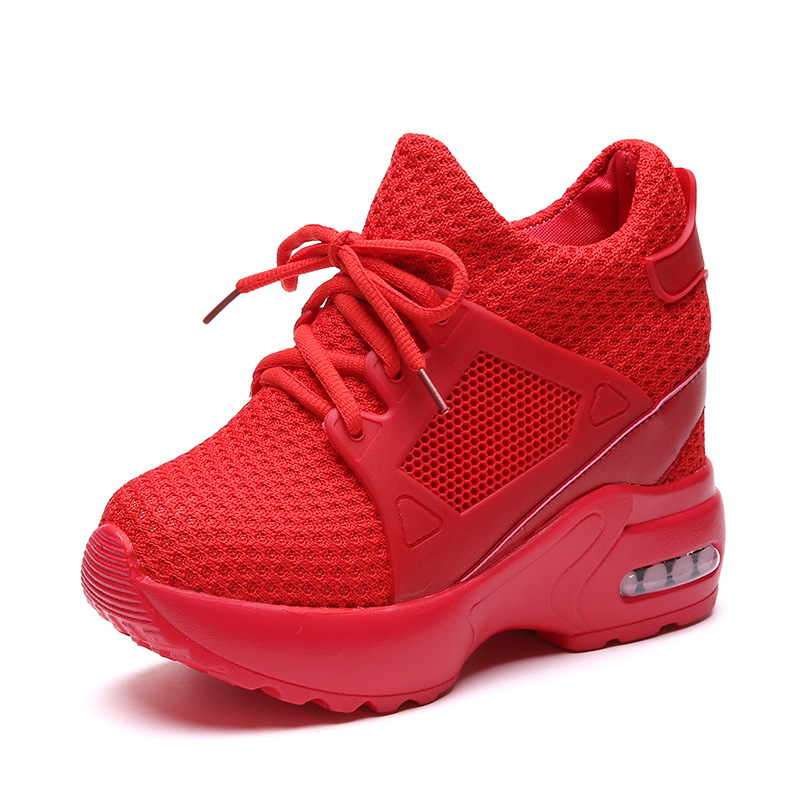 New Thick Heel Platform Shoes Women Net Surface Casual Wild Shoes Lace-up Breathable Sneakers Wedge Air Cushion Sneakers