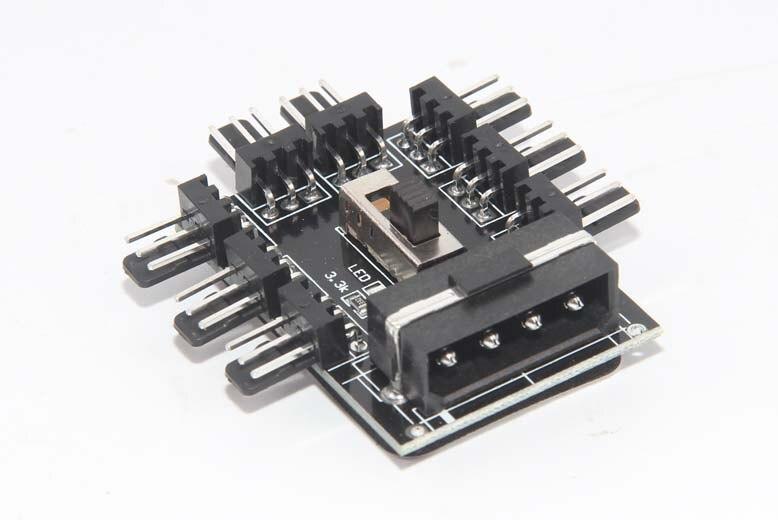 PC Computer IDE Molex 1 to 8 Multi Way Splitter Cooler Cooling Fan Hub 3pin 12V Power Socket PCB Adapter 2 Level Speed Control
