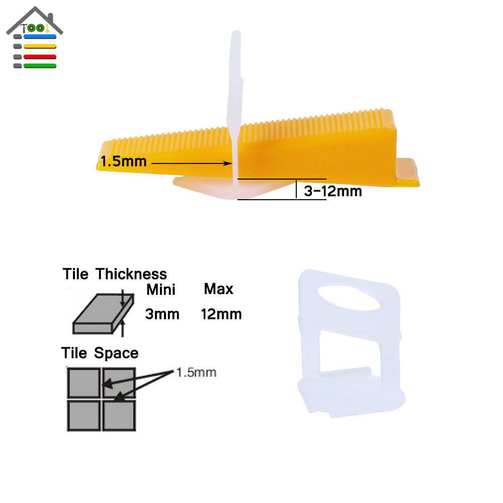 100 pc/saco de Plástico Clips Ladrilhadores Encanadores 1.5mm Gap Espaçadores Da Telha Nivelador Telha Cerâmica Piso Parede D Tipo De Sistema De Nivelamento ferramenta