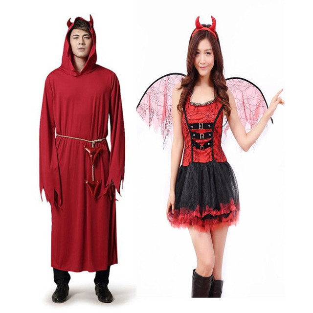 2018 Femmes Homme Rouge Diable Vampire Cosplay Costume Les Adultes en Scène  Performance Costumes Halloween Party