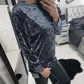 Primavera de Terciopelo Camiseta Larga Nueva Marca Larga de Las Mujeres Camiseta de La Manera Suelta de Manga Larga O cuello de la Camiseta Superior Femenina