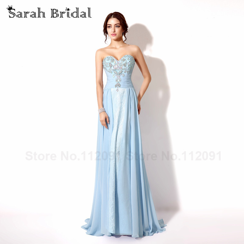 sky blue Sweetheart   Prom     Dresses   With AB Color Crystal Lace Up Elegant Lace Evening   Dresses   Sleeveless vestidos de fiesta largo