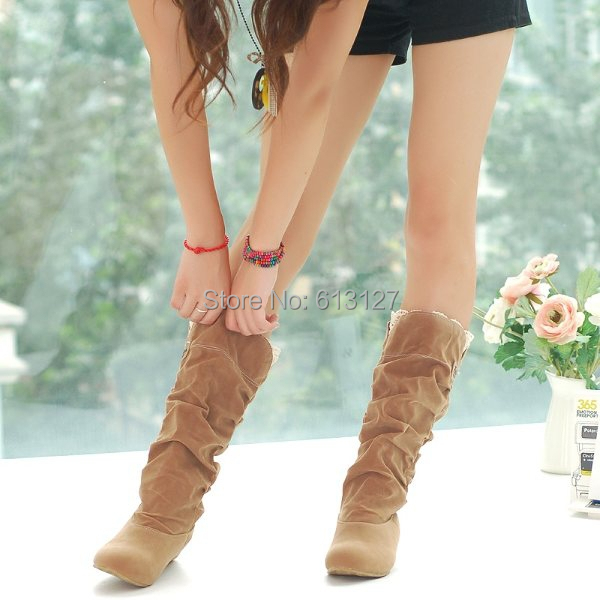 winter style round toe flat flock fashion knee-high heel boots women casual botas femiinas suede snow boots fro women AWB715B enmayer green vintage knight boots for women new big size round toe flock knee high boots square heel fashion winter motorcycle
