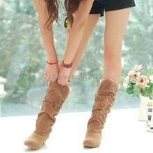 Invierno estilo flock moda punta redonda plana botas de tacón hasta la rodilla mujeres suede botas de nieve ocasional botas femiinas fro mujeres AWB715B